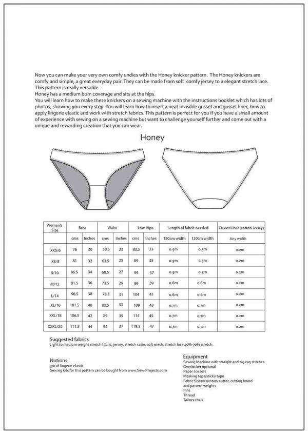 Honey Knickers Sewing Pattern