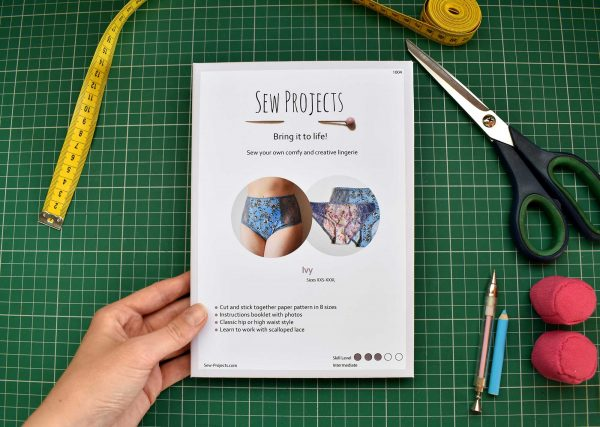Ivy Printed sewing pattern with sewing tools