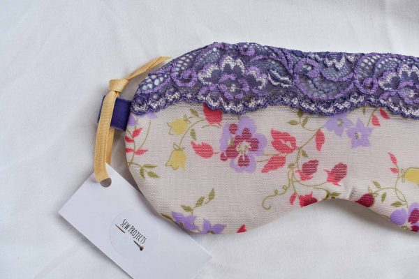Lilac floral sleep mask with lace