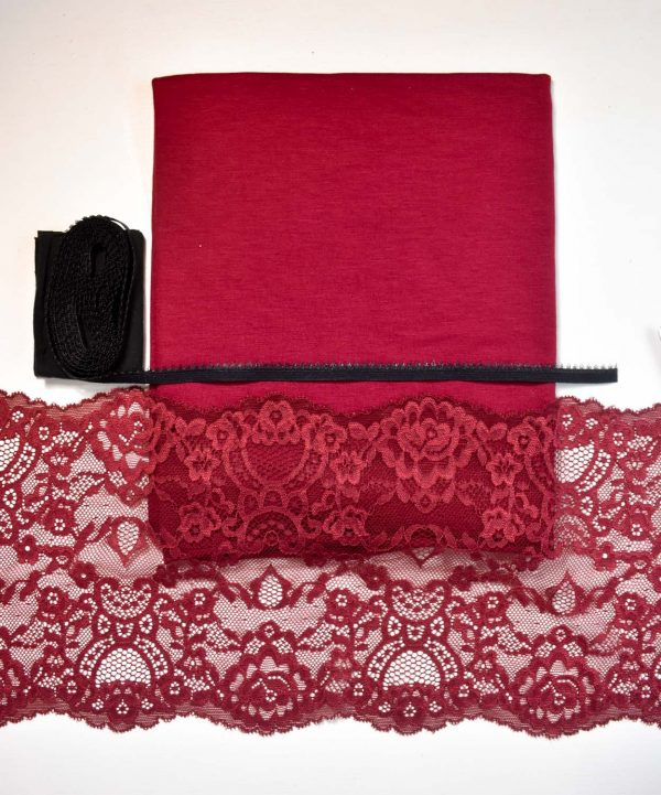Bamboo and Burgundy Lace Knicker Sewing Kit