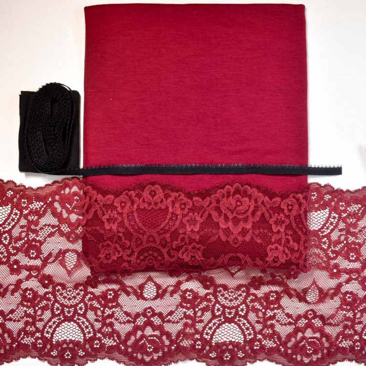 burgundy and bamboo knicker sewing kit