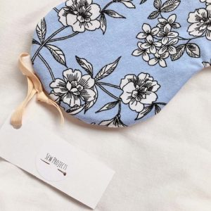 organic cotton blue floral sleep mask