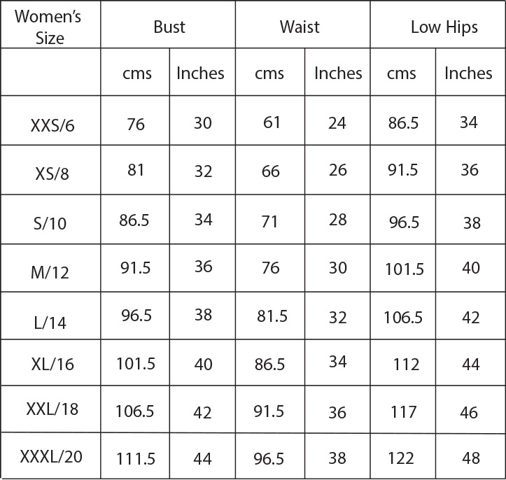 Women's size guide for sewing patterns