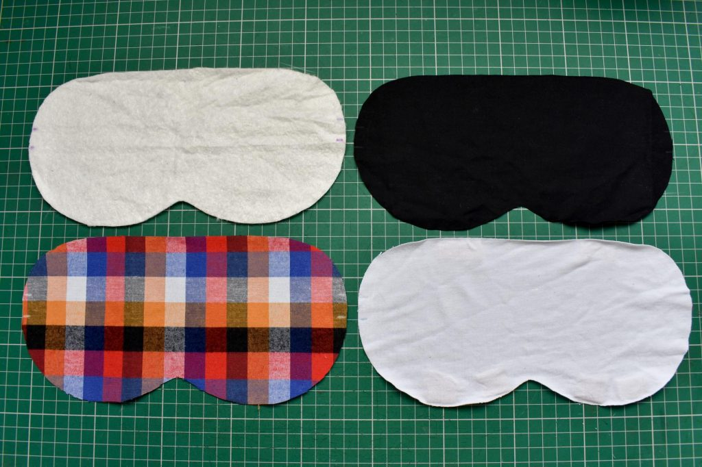 Four layers of fabric for sleep mask