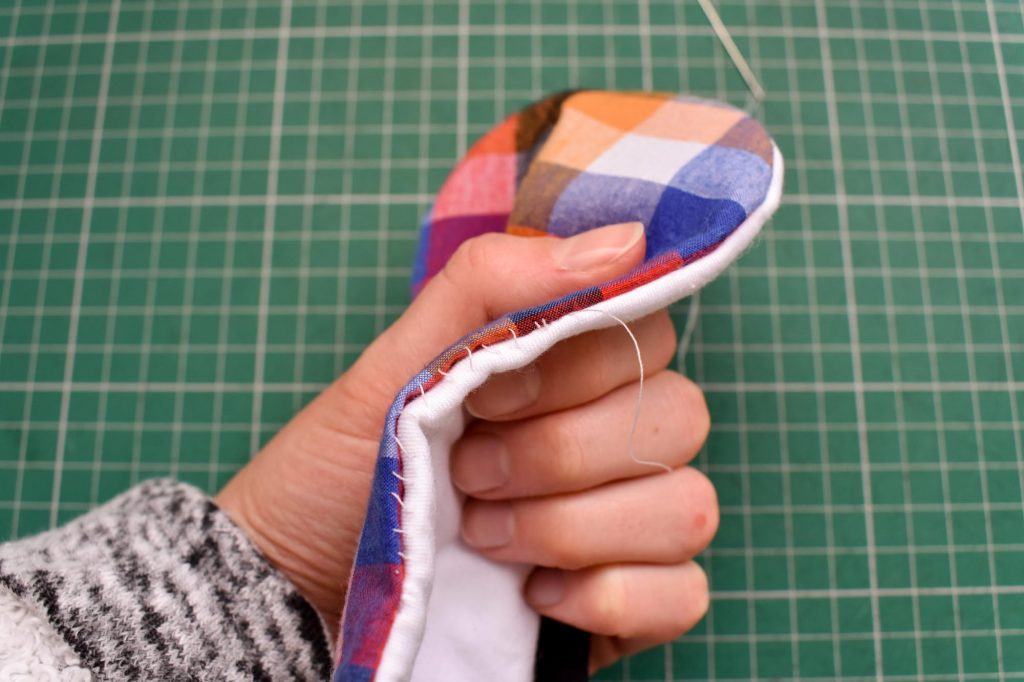 Hand sew sleep mask opening