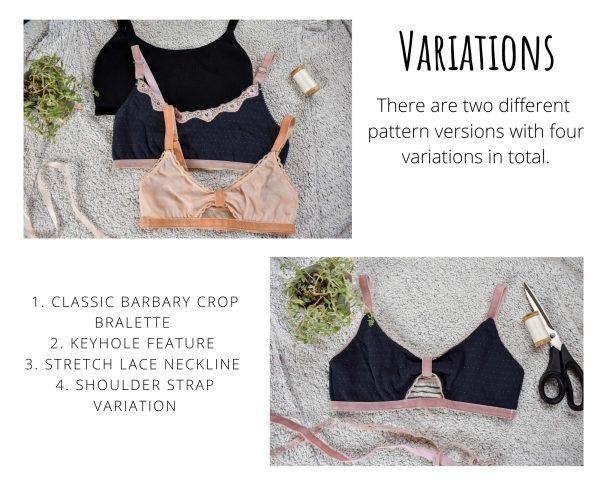 Barbary Bralette Printed Sewing Pattern Variations