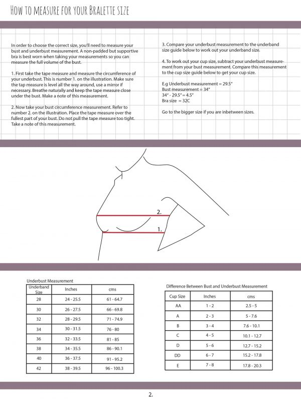 Barbary Bralette Sewing Pattern size guide