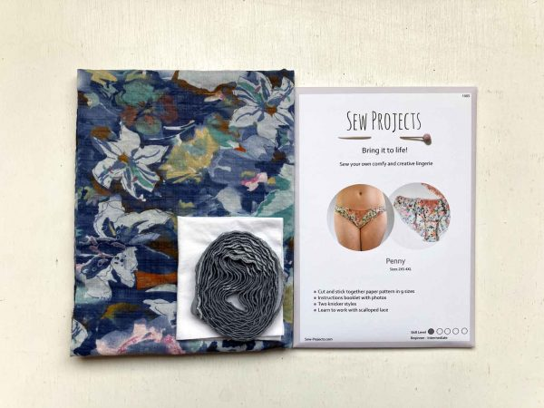 Beginner knicker making kit floral with Penny Pattern