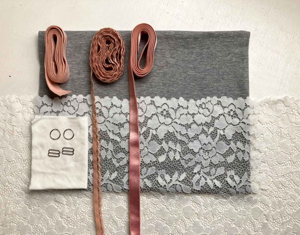 Bralette sewing kit organic grey pink lace