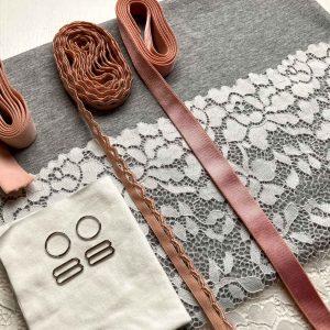 Bralette sewing kit organic grey pink lace