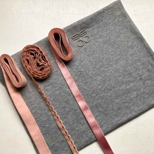 Bralette sewing kit organic grey pink