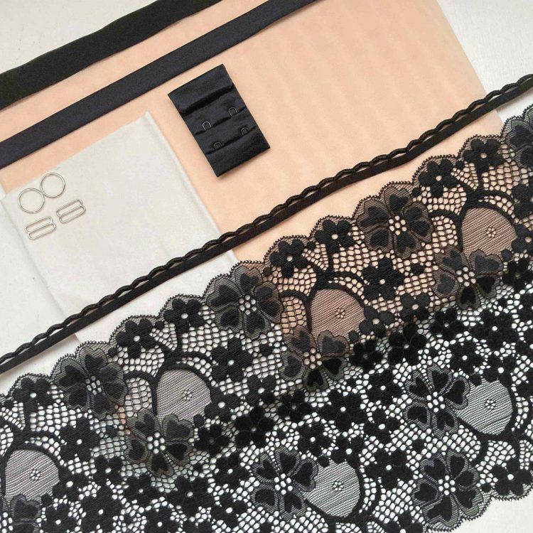 Bralette and knicker sewing kit black lace and peach mesh