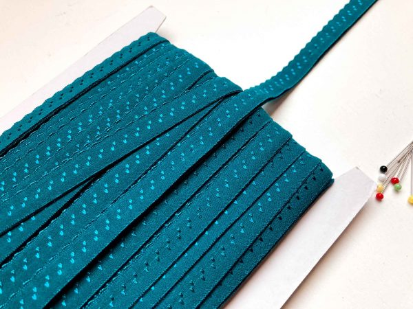 scalloped fold over elastic Petrol/Turquoise