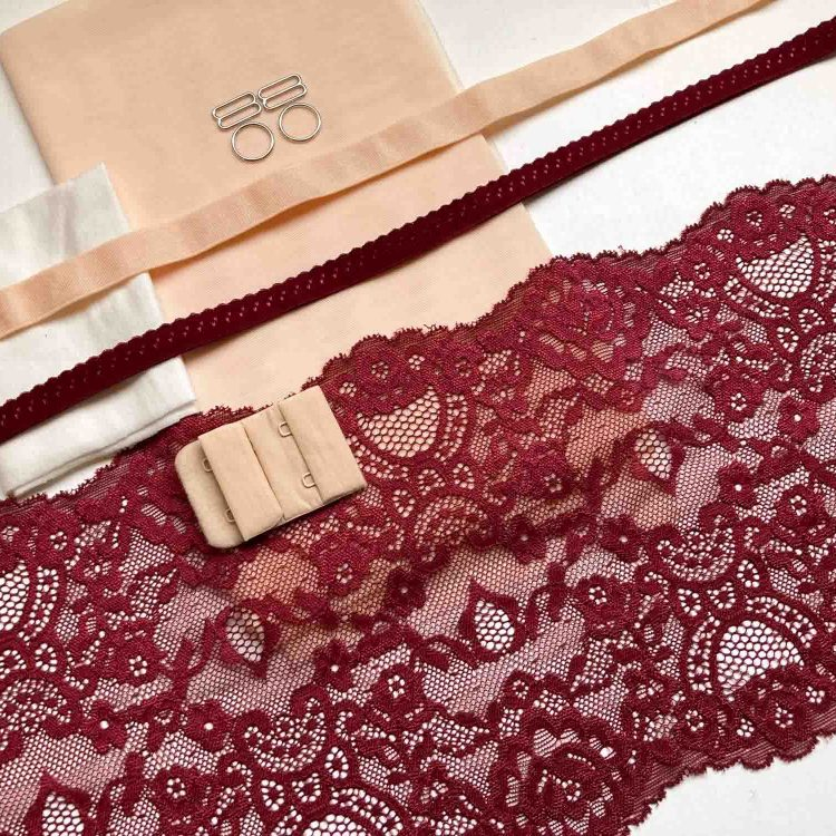 Wine Lace and Peach Bralette and Knicker kit