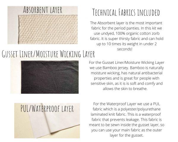 period pants technical fabrics