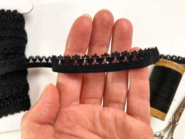Picot edge knicker elastic Black
